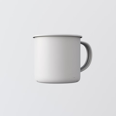 One Blank White Color Metal Hot Tea Mug Isolated Empty Background. Clean Enamel Cup Mockup Ready Corporate Design Message.Vintage Style.Horizontal Studio Shooting Side View. 3d rendering.
