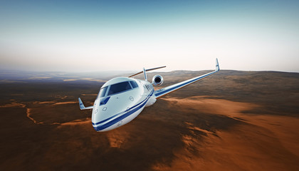 Realistic Photo White Luxury Generic Design Private Airplane Jet Flying Over the Mountains.Empty Blue Sky with Sun at Background. Business Travel Concept. Horizontal. 3D rendering.