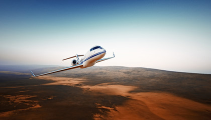 Realistic Photo White Luxury Generic Design Airplane.Private Jet Cruising High Altitude, Flying Over Mountains.Empty Blue Sky with Sun Background. Business Travel Concept. Horizontal. 3D rendering.