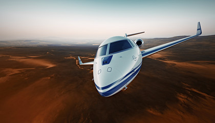 Closeup Photo White Luxury Generic Design Airplane.Private Jet Cruising High Altitude, Flying Over Mountains.Empty Blue Sky with Sun Background. Business Travel Concept. Horizontal. 3D rendering.