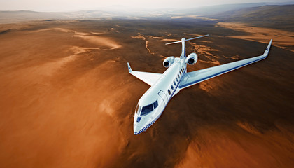 Top View Photo White Luxury Generic Design Airplane.Private Jet Cruising High Altitude, Flying Over Mountains.Empty Blue Sky with Sun Background. Business Travel Concept. Horizontal. 3D rendering.