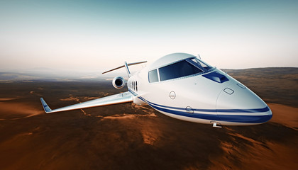 Closeup Photo White Luxury Generic Design Airplane.Private Jet Cruising High Altitude, Flying Over Desert.Empty Blue Sky with Sun Background. Business Travel Concept. Horizontal. 3D rendering.