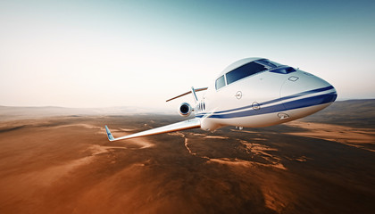 Closeup Photo Modern White Luxury Generic Design Airplane.Private Jet Cruising High Altitude, Flying Over Desert.Empty Blue Sky with Sun Background. Business Travel Concept. Horizontal. 3D rendering.