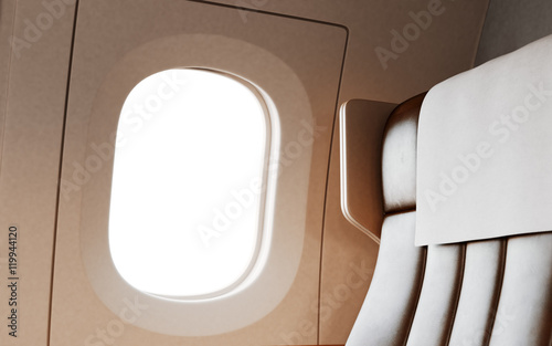 Empty Leather Chair Background Inside Interior First Class