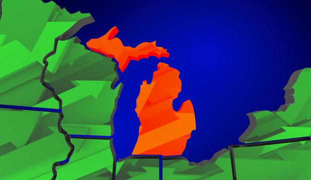 Michigan Map United States America Growth Increase Improve 3d Il
