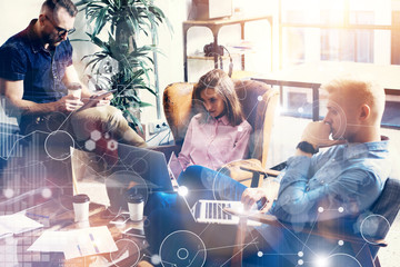 Global Strategy Connection Virtual Icon Graph Interface Diagram Marketing Research.Online Business Startup People Brainstorming Process.Concept Coworkers Team Making Great Corporate Decisions.Blurred.
