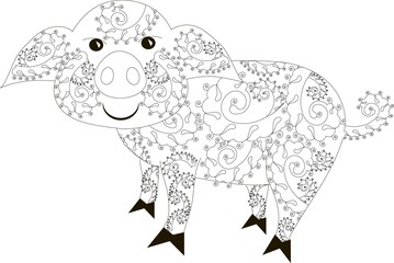 Zentangle stylized pig black and white hand drawn vector illustration