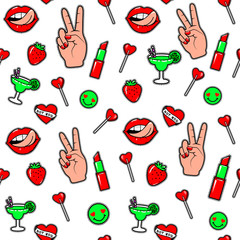 Vector illustration of fashion fun patch stickers seamless background