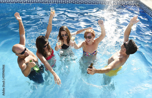 Happy attractive men and women in bikini having bath at - Hotels in bath with swimming pool ...