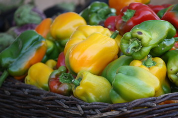 organic peppers at the market stall