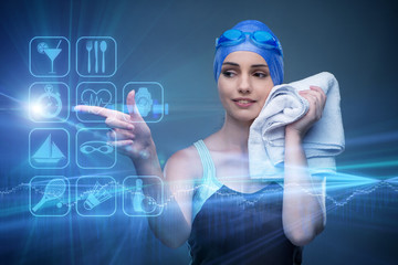 Woman swimmer in sports concept