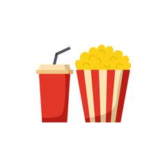 Vector isolated cartoon popcorn and soda