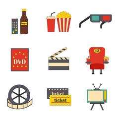 Vector cartoon cinema time objects