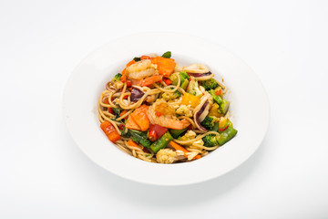 Spaghetti with spicy seafood