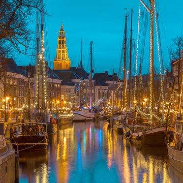 Sailing ship at the Hoge der Aa quay Groningen