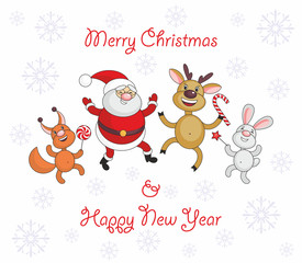 Greeting card merry Christmas and New Year with Santa Claus's image and cheerful animals.