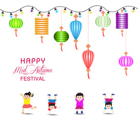 Mid Autumn Festival vector background with lantern and happy kids playing