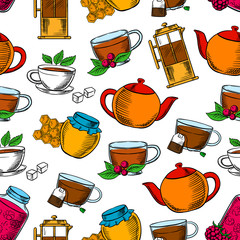 Tea time, coffee and desserts background
