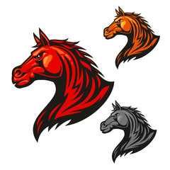 Furious horse icons. Stylized stallion emblems