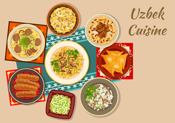 Uzbek cuisine dinner with asian dishes icon