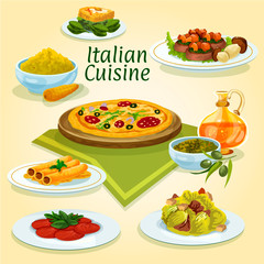 Italian cuisine national dishes for menu design