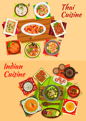 Thai and indian oriental dishes for dinner menu