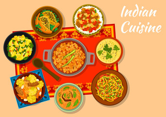 Indian cuisine spicy dishes for lunch menu design