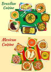 Mexican and brazilian cuisine dinners icon