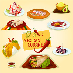 Mexican cuisine taco, burrito and tortilla icon