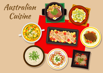 Australian cuisine dishes for festive dinner icon