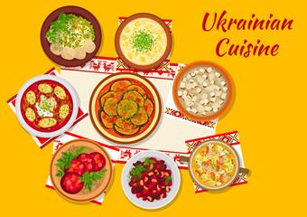 Ukrainian cuisine national dinner dishes sign