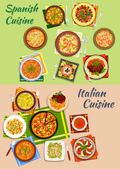 Italian and spanish cuisine fresh dinner icon