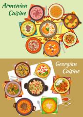 Georgian and armenian cuisine dinner dishes icon