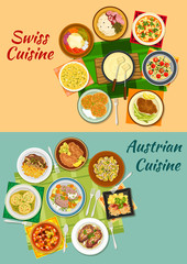 Swiss and austrian cuisine popular dishes icon