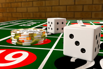tokens and dices on the roulette table