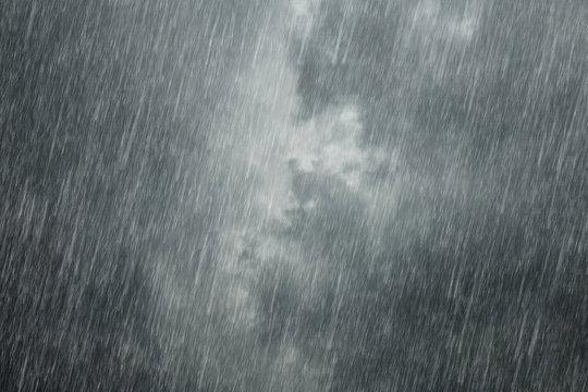 dark clouds with falling rain