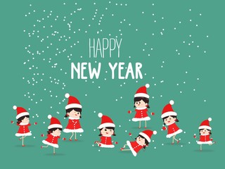 Merry Christmas and New Year Card with kids Background
