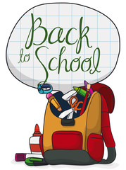 Backpack Ready to Start the School, Vector Illustration