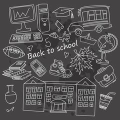 School icons on dark background