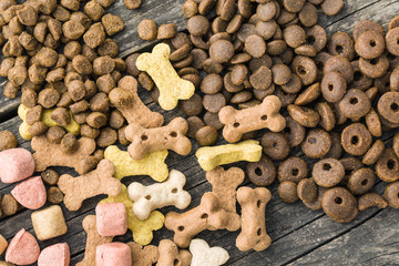 Different dog foods.