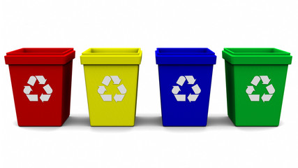recycle bin logo four color 3d rendering