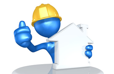 Construction Worker Character With Blank Home Symbol