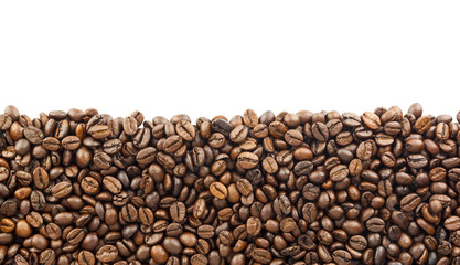 coffee beans background with copy space for text