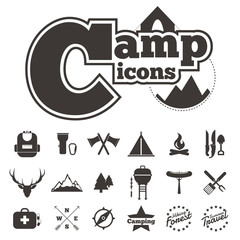 icon camping vector on white background