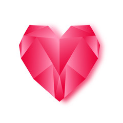 Diamond low poly red heart.