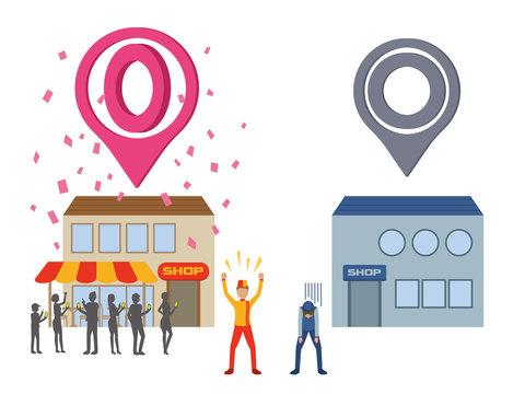 location-based marketing, winner and loser, vector illustration