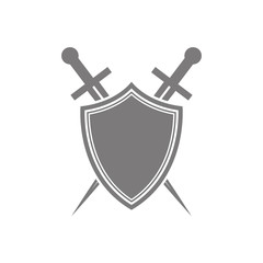 Abstract vector icon - shield and sword.Black shield and sword on a white background.