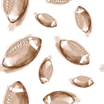 Hand-drawn watercolor seamless pattern with American football balls. Repeated background in retro style. Sport pattern