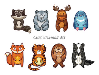 Cute animal set with cartoon characters