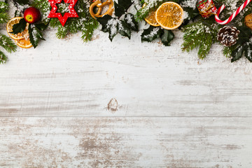 Christmas decoration on wooden boards.